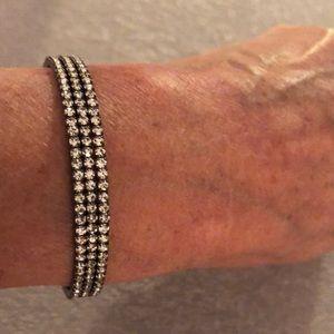 Jewelry - NWT crystal 3 row dark silver bracelet!